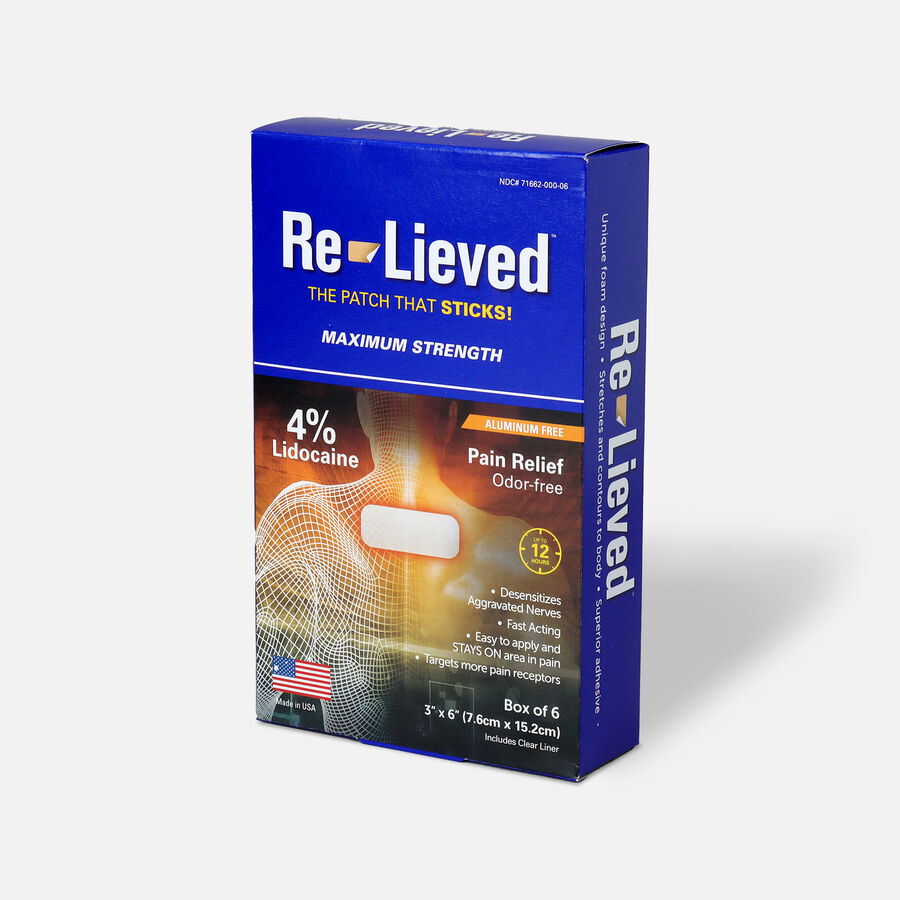 Re-Lieved 4% Lidocaine Pain Relief Patches, 6 ct, , large image number 2