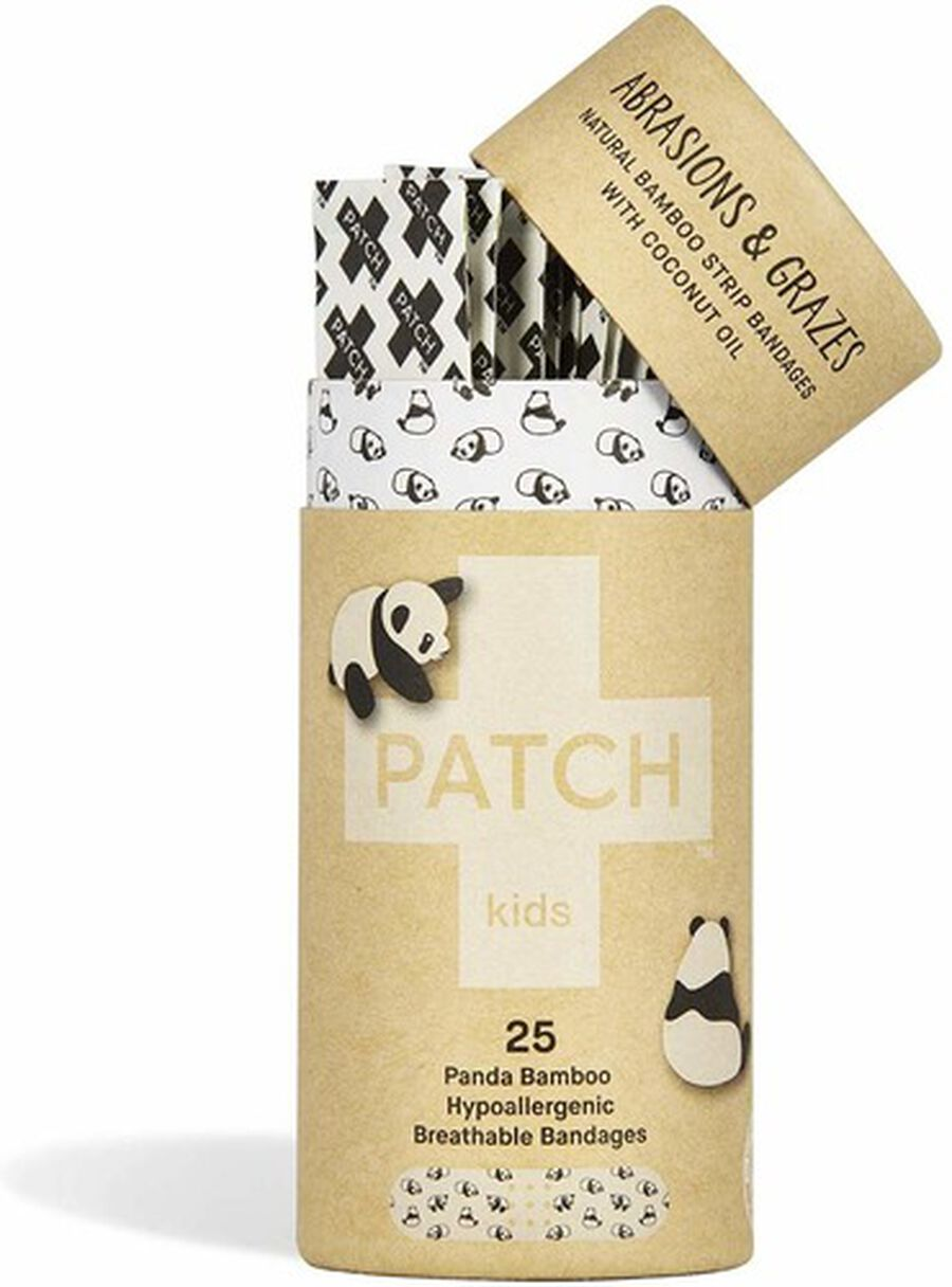 PATCH Kids Organic Bamboo Adhesive Strip Bandages with Coconut Oil, Panda Print - 25ct, , large image number 2