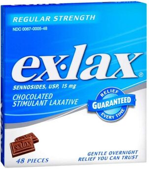 Ex-Lax Regular Strength Sennosides, 15 mg, Stimulant Laxative Chocolated Pieces For Gentle Overnight Relief