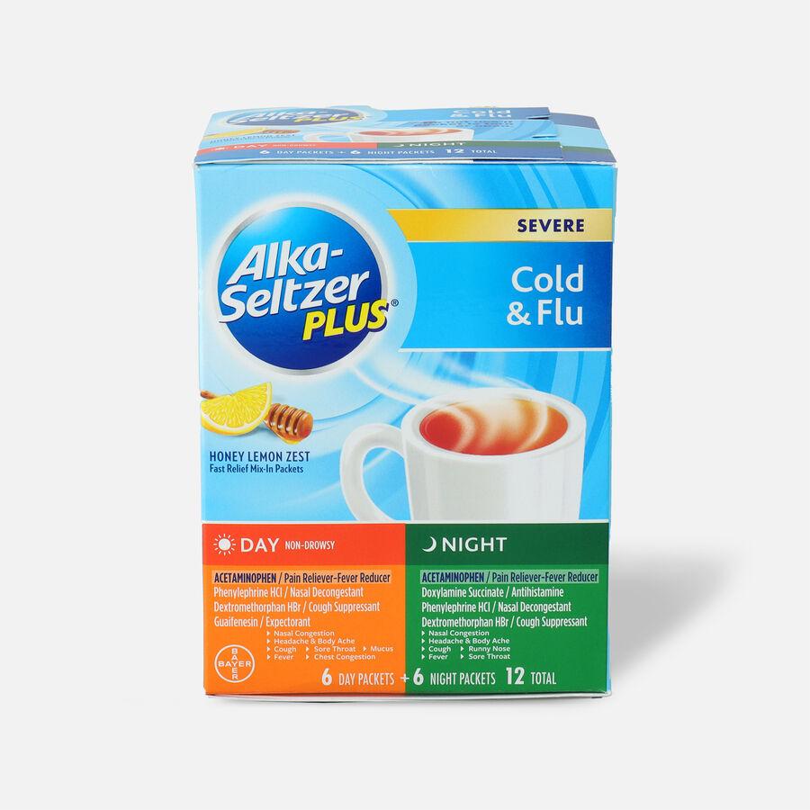 Alka-Seltzer Plus Powder - Severe Cold & Flu, Day & Night Powder Packets, Honey Lemon, 12ct, , large image number 0