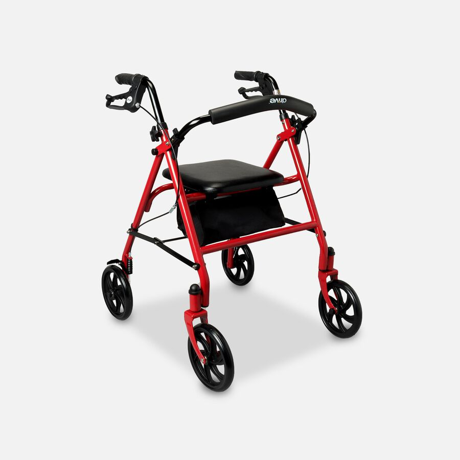 "Drive Aluminum Rollator with Fold Up and Removable Back Support, 7"" Casters, Red, , large image number 0"