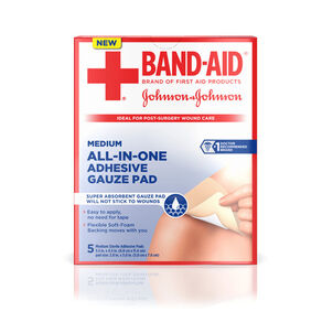 BAND-AID® All-in-One Adhesive Gauze Pad, Medium