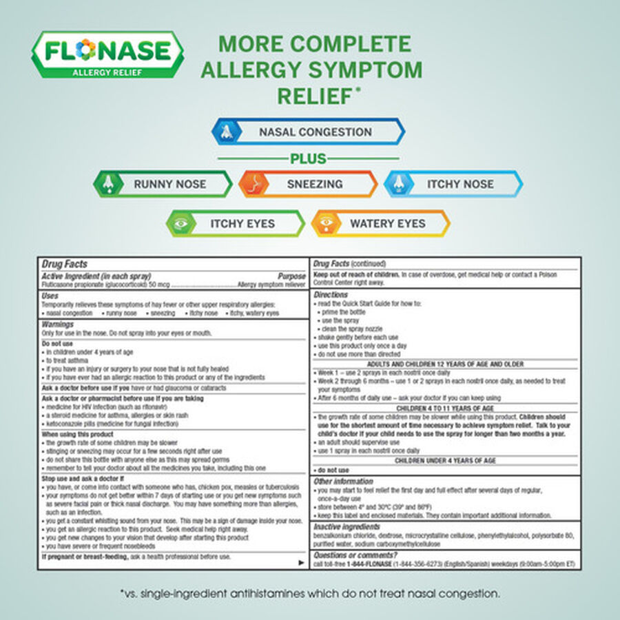 Flonase Allergy Relief Nasal Spray, 72 ct, , large image number 7
