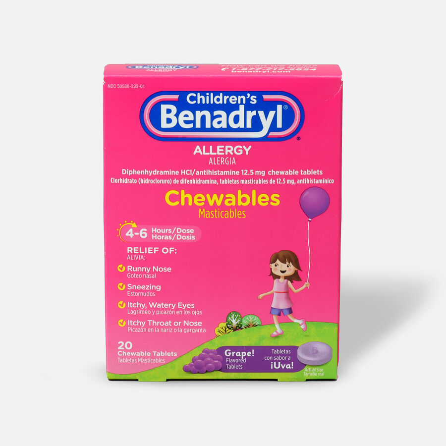 Children's Benadryl Chewable Tablets, Grape Flavored, 20 ct, , large image number 0