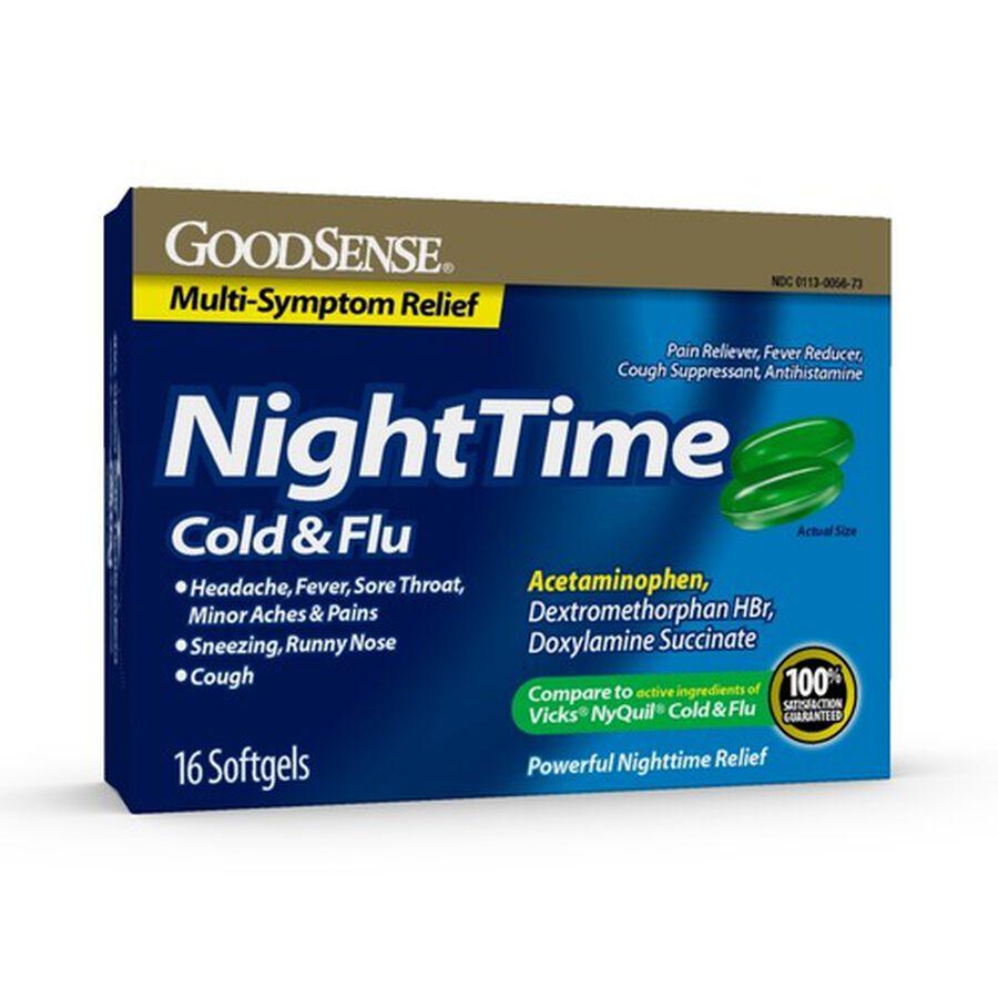 GoodSense® Night Time Cold & Flu Multi Symptom Softgels, 16 ct, , large image number 0