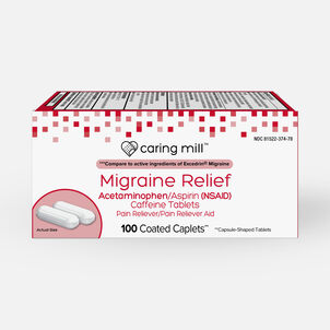 Caring Mill™ Migraine Relief Acetaminophen/Aspirin (NSAID) Caffeine Tablets Pain Reliever/Pain Reliever Aid, Coated Caplets, 100 ct