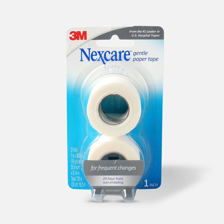 """Nexcare Gentle Paper Tape, 1"""" x 20 yds - 2ct, , large image number 0"""