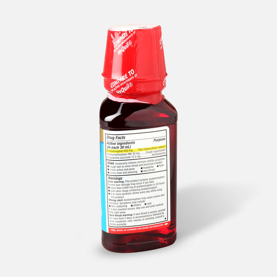 GoodSense® NightTime Cold and Flu Relief, Cherry Flavor, 8 fl oz, , large image number 1