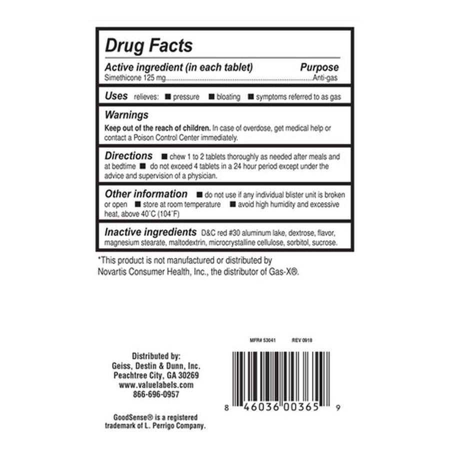 GoodSense® Gas Relief XS Simethicone 125 MG Chew Tab Cherry Crème, 18 ct, , large image number 1