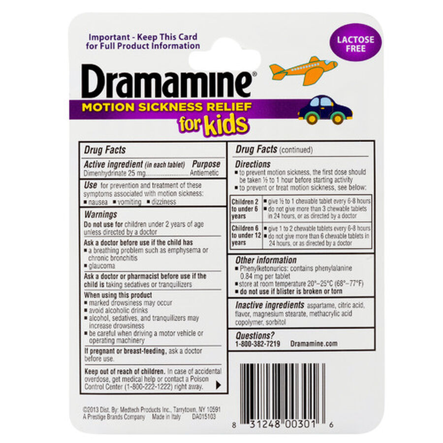 Dramamine Motion Sickness Relief for Kids, Grape Flavor, 8 ct, , large image number 1