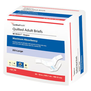 Cardinal Health WINGS™ Super Quilted Adult Briefs Maximum Absorbency